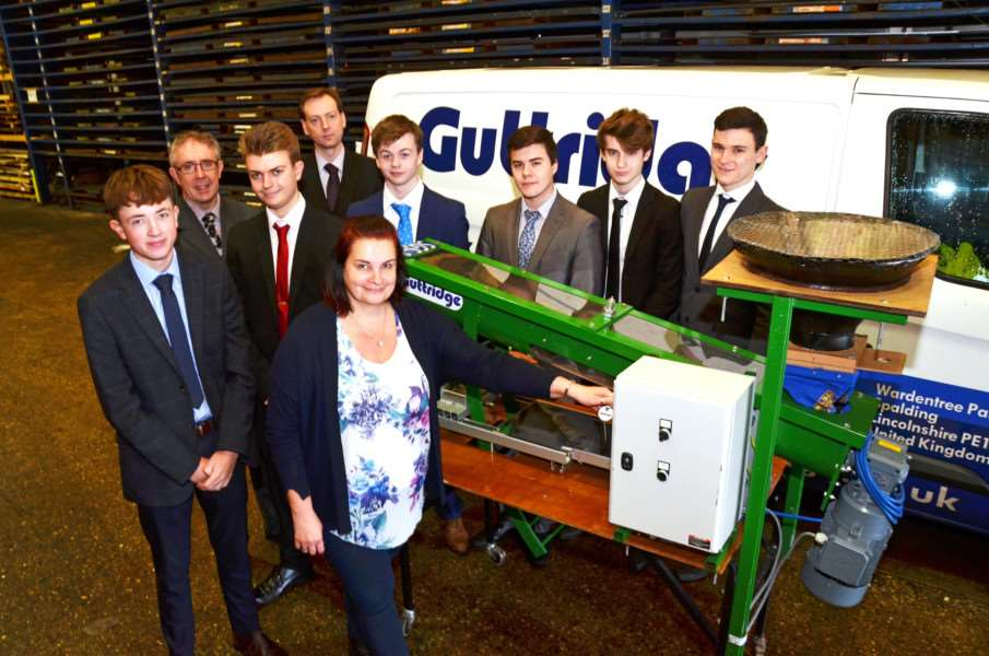 Design engineer Louise Luck with Joe Griffiths, teacher Dion Jones, Daniel Grant, headmaster Steven Wilkinson, Samuel Eady, Tristan McNeill, Joshua Yellop and Oliver Lowdell.