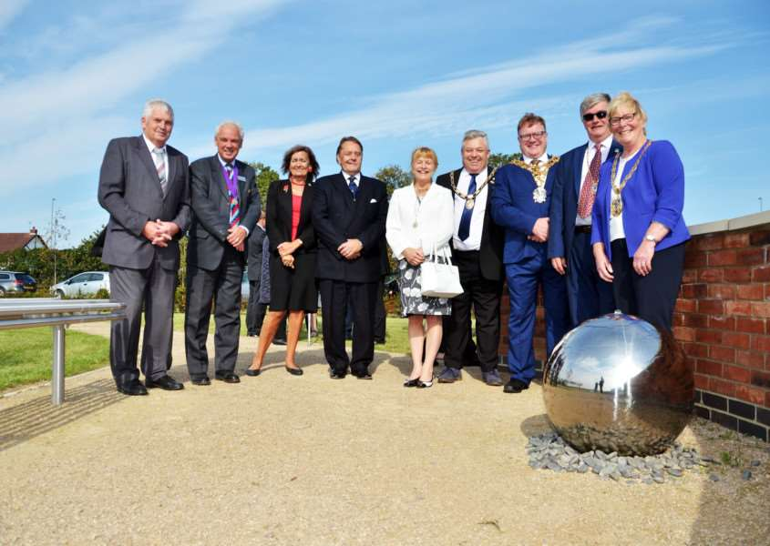 Pictured at the official opening of the burial ground are (from left) Sutton Bridge Parish Council chairman John Grimwood, Fenland District Council vice chairman David Hodgson and his wife, Judy, MP John Hayes, Christine Grocock, South Holland District Council chairman Rodney Grocock, Mayor of Wisbech Steve Tierney, Simon Bower and Mayor of King's Lynn and West Norfolk Carol Bower. SG240917-139TW