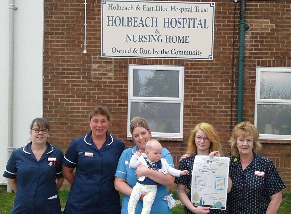 Lesly Pointer, deputy manager, Maxine Winch, manager, nurse Rachael Tripp and her baby and Millie Howard, finance assistant, Helen Stanberry, ward clerk, at the launch of Holbeach Hospital's 30th anniversary celebrations. Photo supplied. (9095009)
