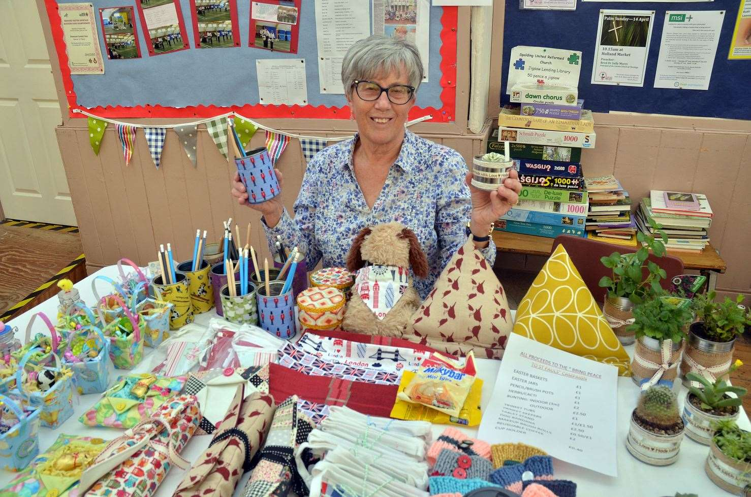 Getting crafty ... Heather Beeken with her stall for our Bring Peace to St Paul's appeal. (130419-1)