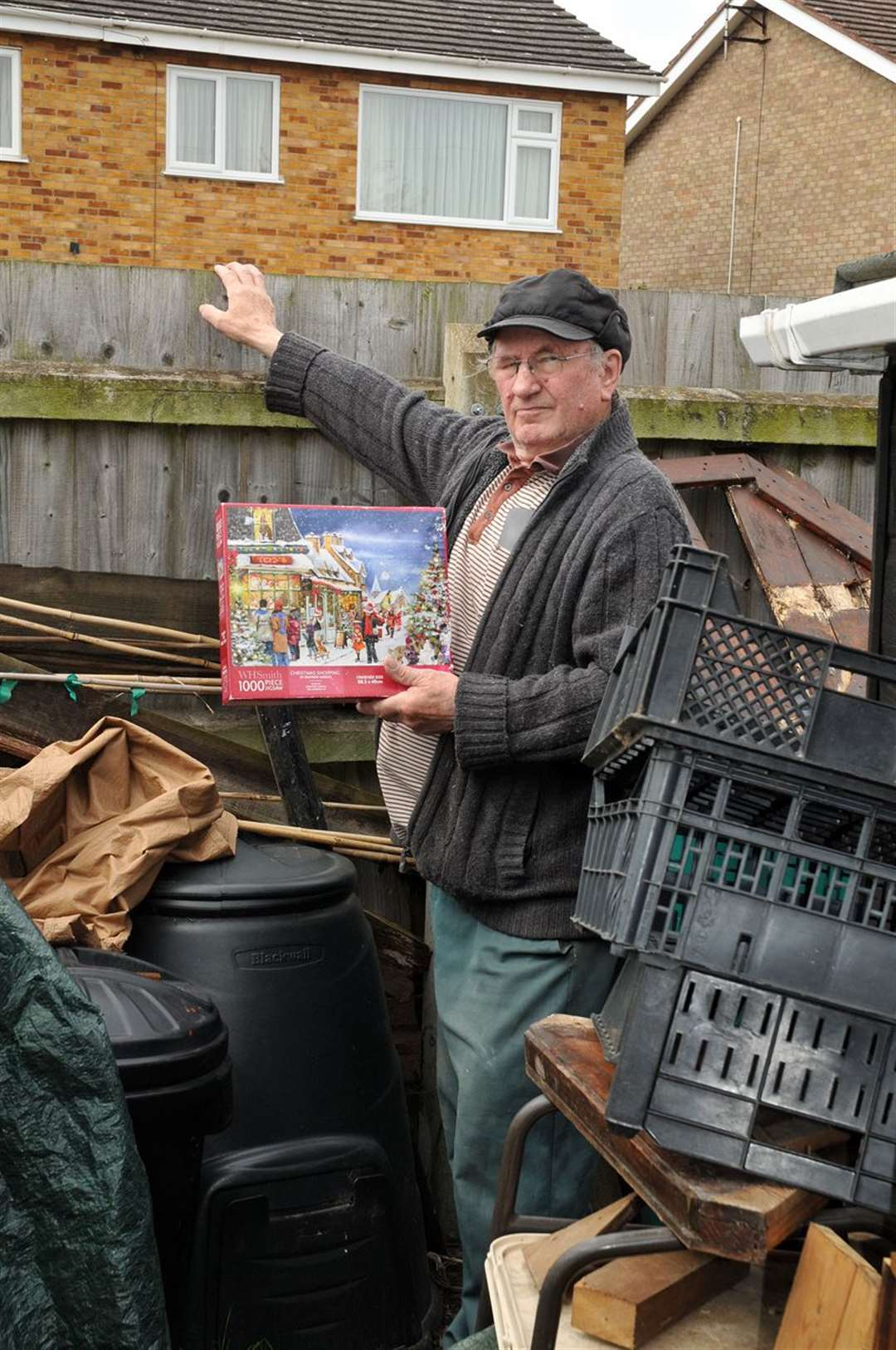 Air ambulance fundraiser Les Ward pictured in April when thieves went through bric-a-brac in his garden