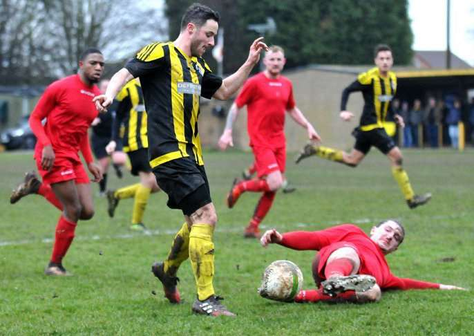 Luke Avis is denied during the draw with Wellingborough