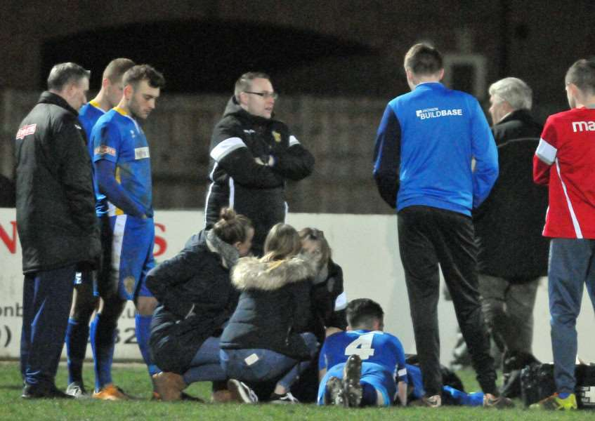 Concern for Jonny Lockie as he is treated on the pitch
