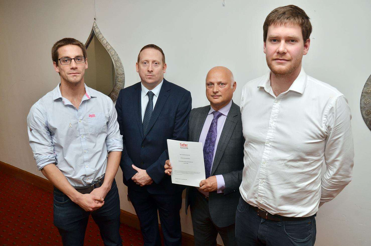 Ryan Hart, Detective Chief Superintendent Chris Davison, author Dr Russell Wate and Luke Hart were in Grantham on Thursday for the publication of the Domestic Homicide Review into the deaths of Claire and Charlotte Hart.