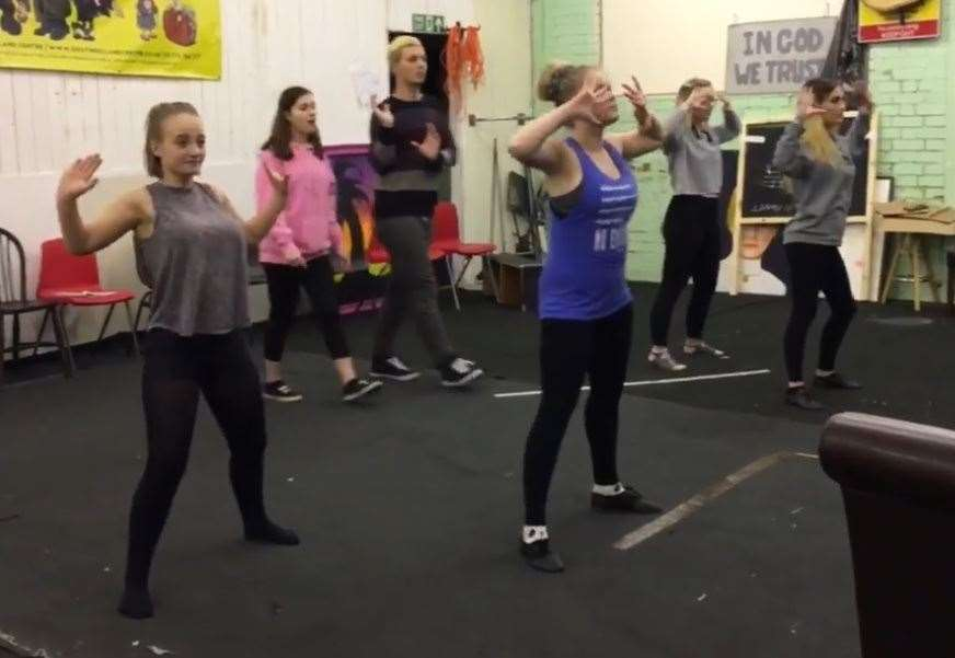 Some of the cast of Fame, the Musical from SADOS (Spalding Amateur Dramatic and Operatic Society) go through their steps in rehearsals. (8831023)
