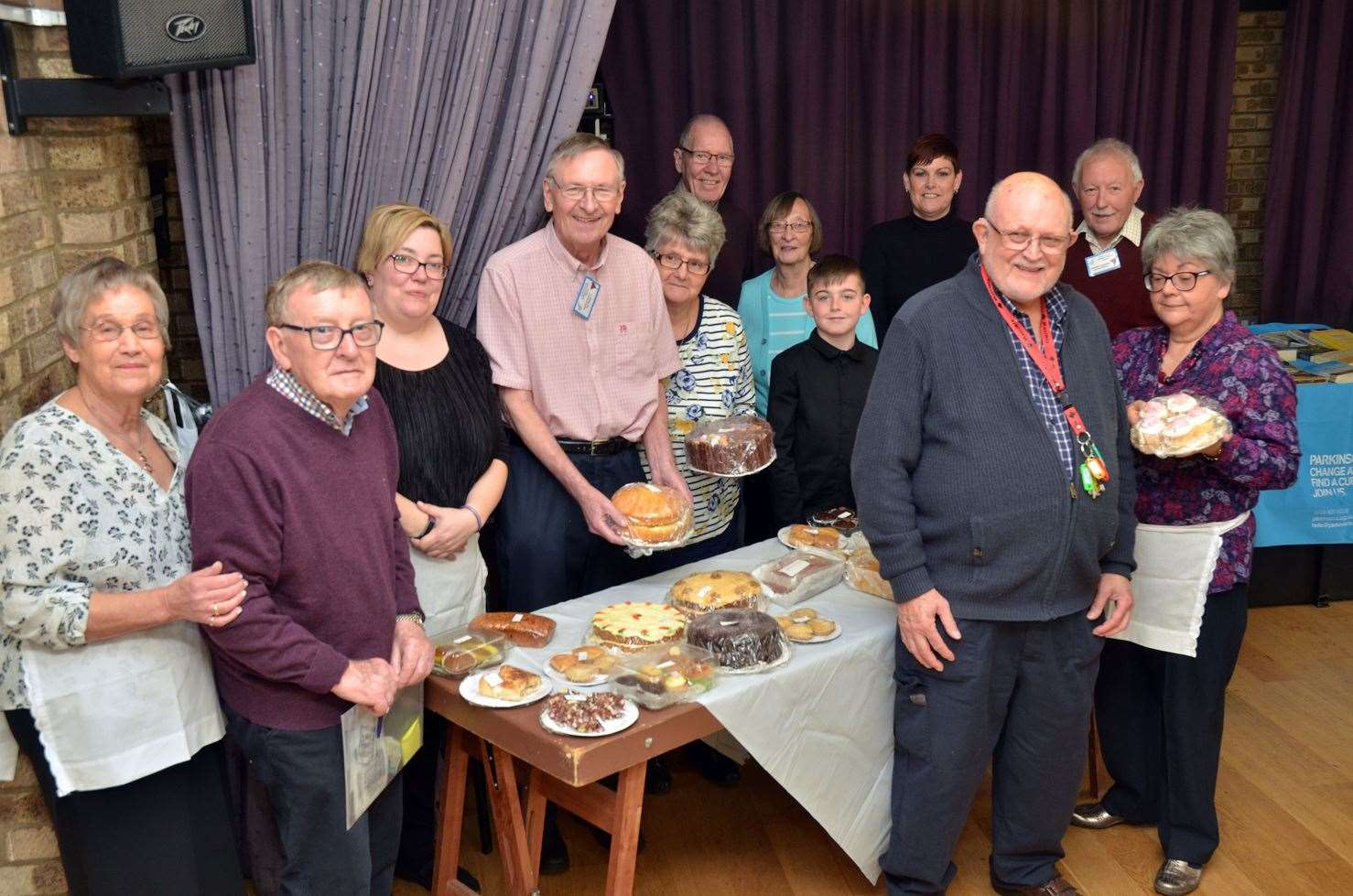Spalding and District Parkinson's branch chairman Roy Coxon (front) with wife Jane and members and guests.