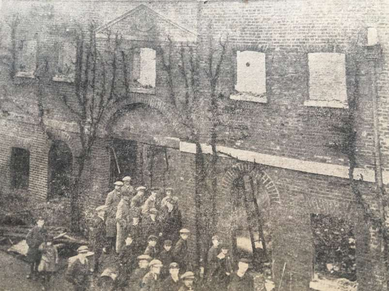 The offices which were destroyed by fire.