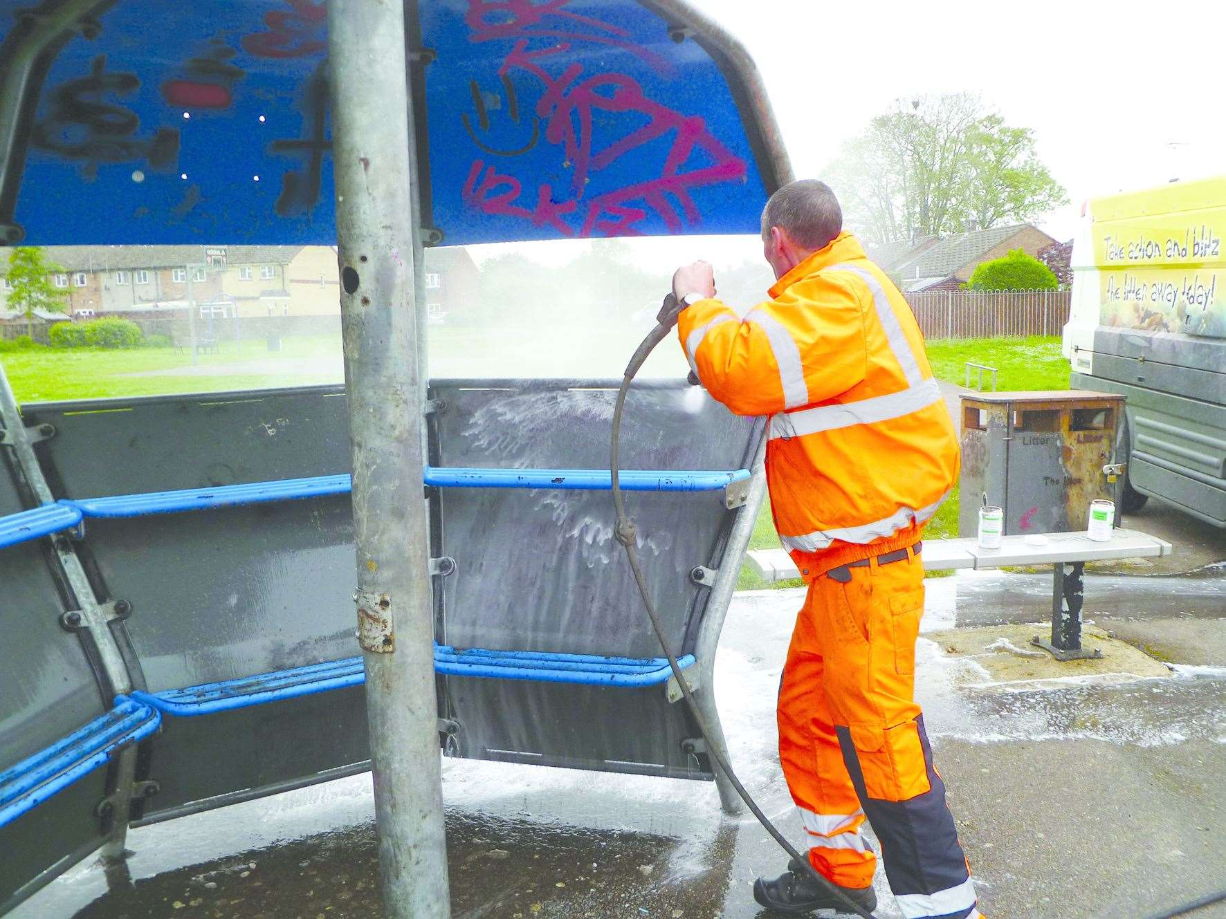 A Pride in South Holland team member cleans up vandalism at Spalding's Low Fulney Skate Park. Photo supplied by South Holland District Council. (7153380)