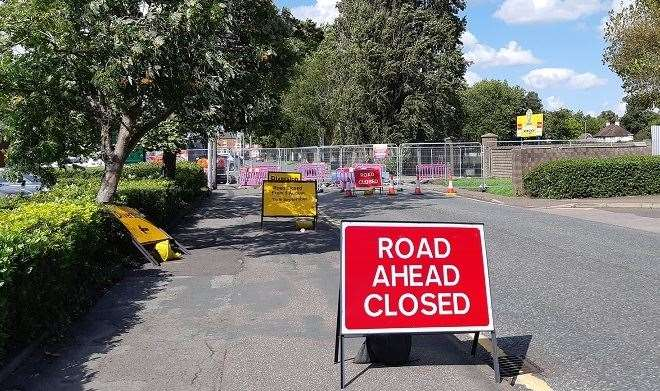 Road closed: Winfrey Avenue has barriers running the width of the street