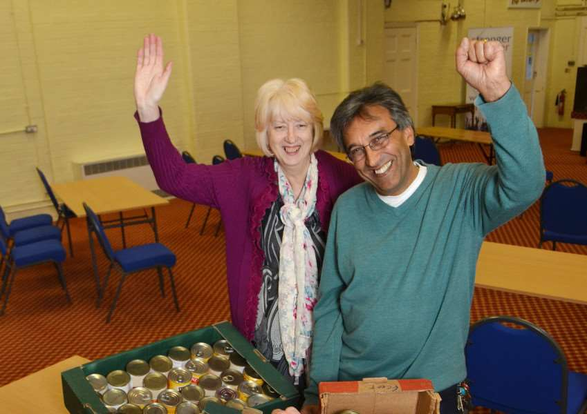 CROWLAND AID: Irene Davies, coordinator of Agapecare Foodbank in Spalding, and Pastor Chas Sandhu, of The Lighthouse Church, Spalding, have welcomed the launch of a new foodbank satellite centre based at Crowland Abbey.''Photo by Tim Wilson. SG150316-112TW.