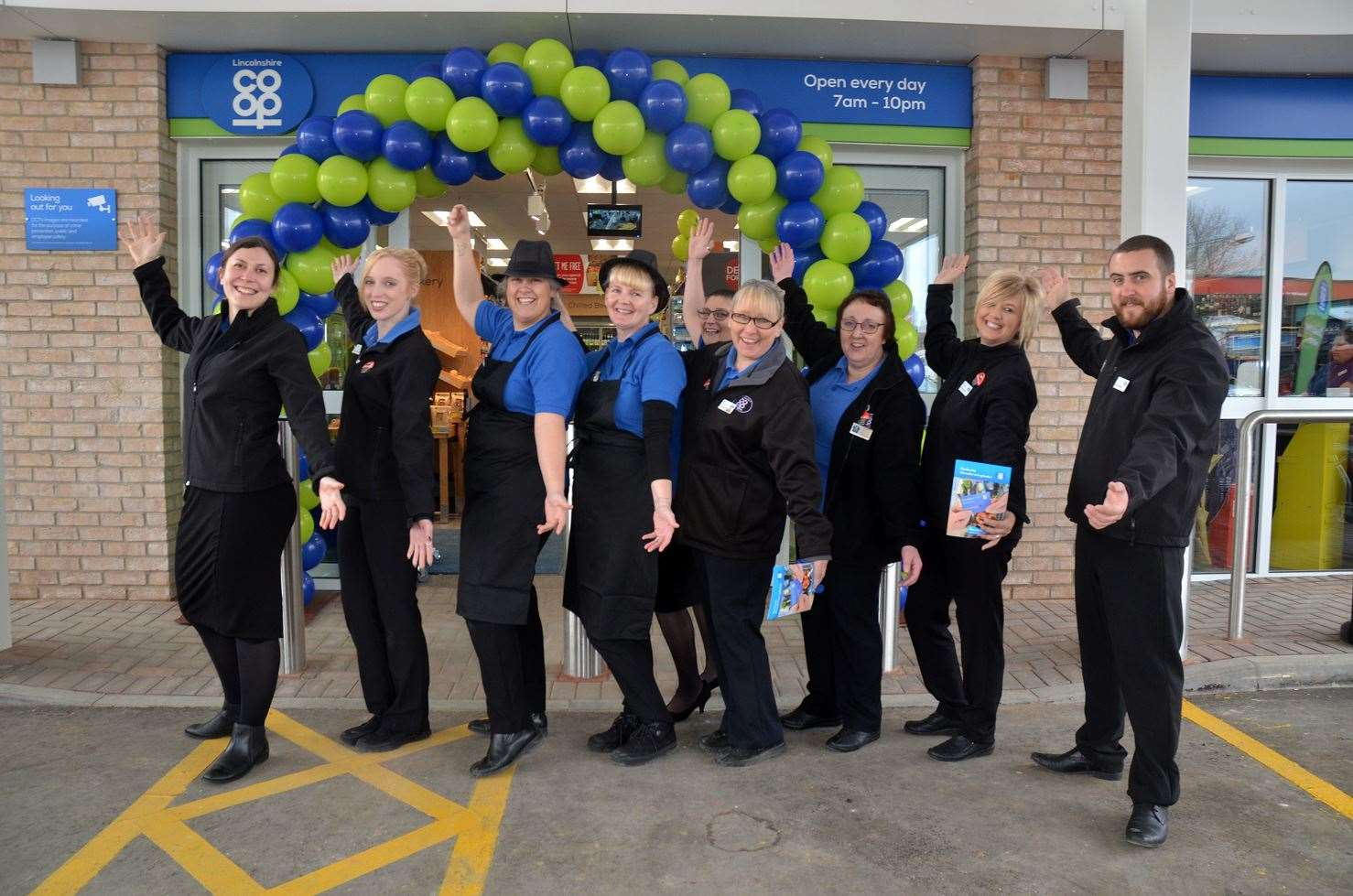 Staff celebrate the opening of the new Co-op in Whaplode, with manager Jamie Taylor on the far right.