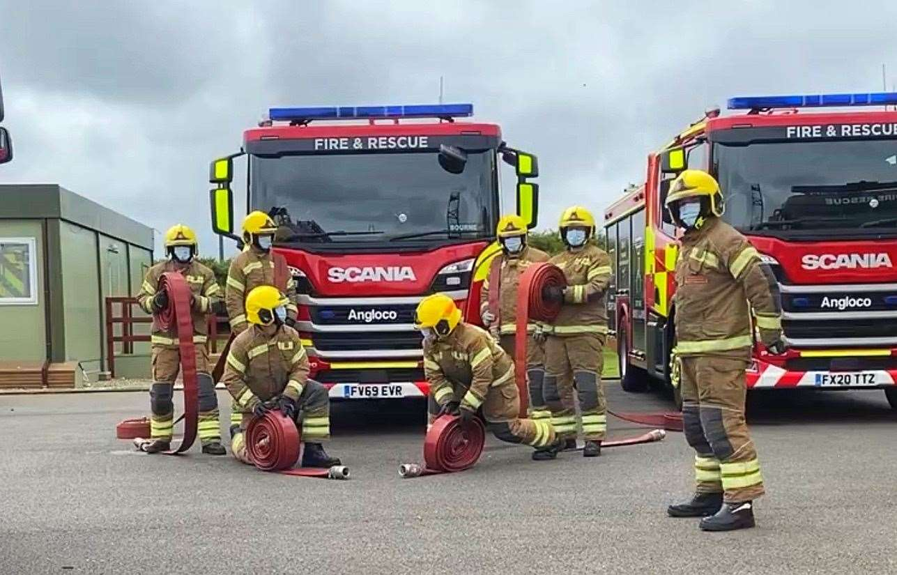 Harry Drury, kneeling on the right, is taking part in the Lincolnshire Fire and Rescue 10km hose run challenge, planned for August 1.