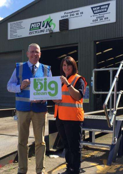 Cllr Dr Peter Moseley and Ruth Cullen from Mid UK Recycling in Market Deeping. Photo provided by South Kesteven District Council.