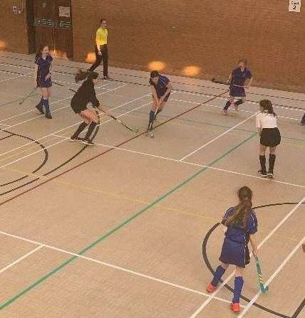 Spalding Academy under-13 girls take part in their first-ever indoor hockey tournament.Photo supplied. (32292445)