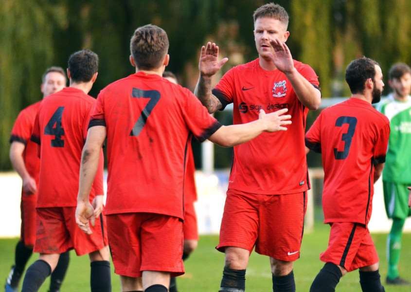 Josh Smith is congratulated after the opening goal