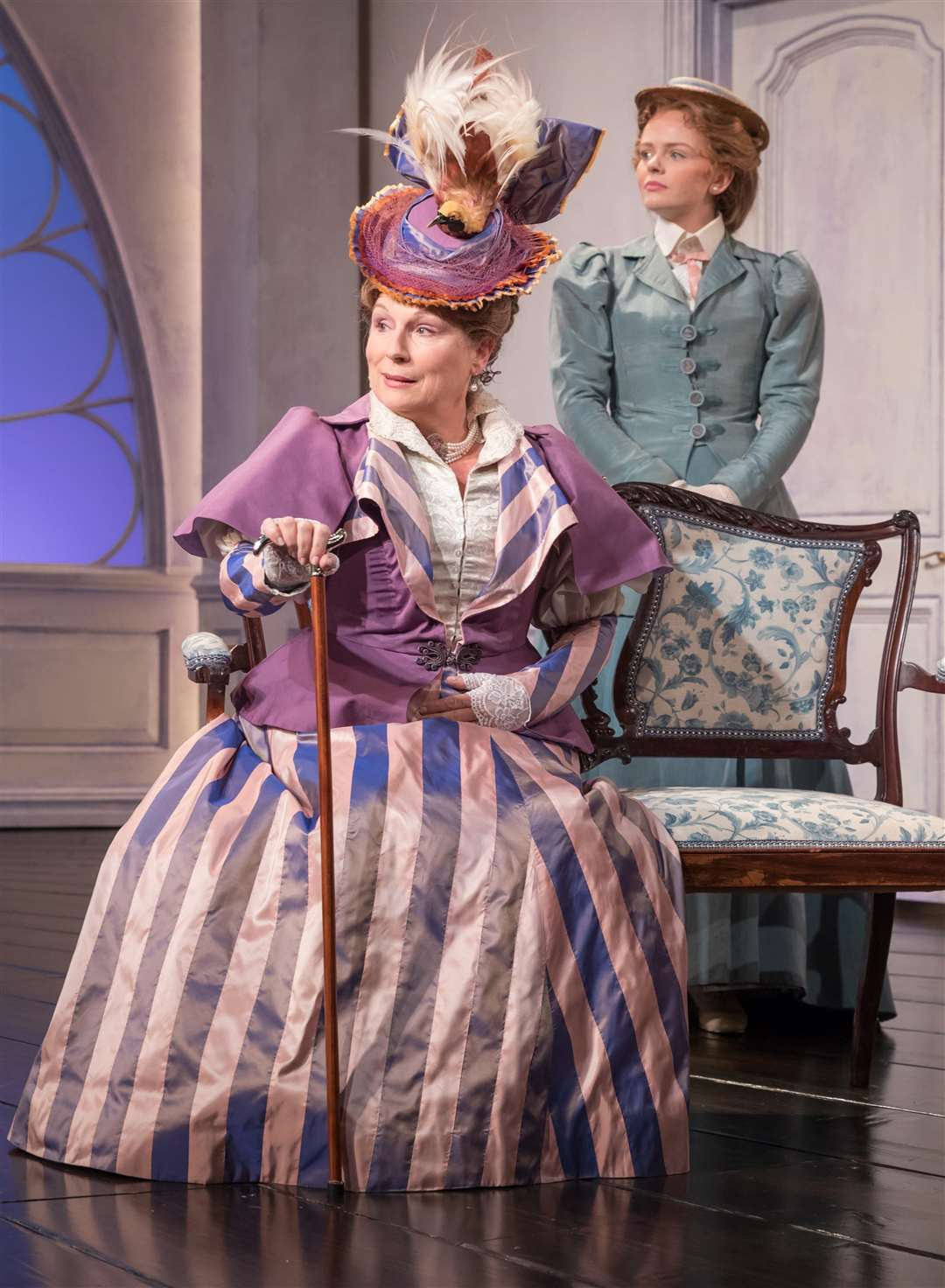 Jennifer Saunders and Ami Metcalf (Duchess of Berwick and Lady Agatha) in Lady Windermere's Fan, part of Oscar Wilde Season LIVE at the Vaudeville Theatre, London. Photo by Marc Brennar. (3497908)