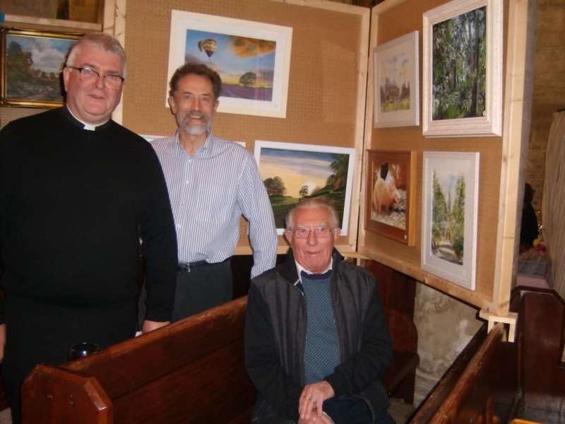 Father Adrian Mason, Rector of Fleet Church; Geoff de Roux' one of the painters; Ron Cutler - one of the team who organised the'event