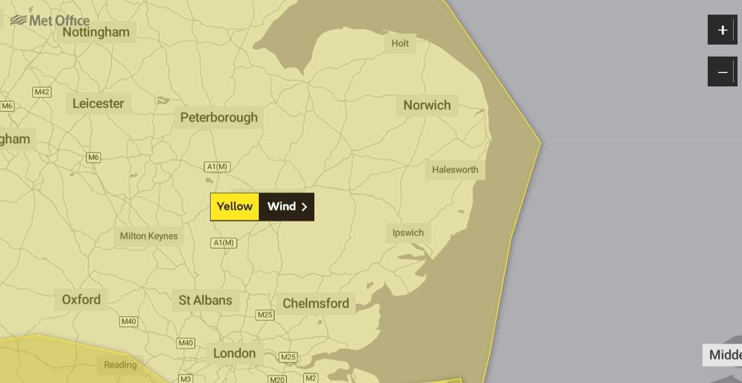 Storm Dennis will invoke a yellow alert for Norfolk onSaturday. (28937716)