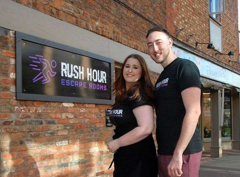 Brett Harman and Hannah Stinson outside the new Rush Hour Escape Rooms in Red Lion Street, Spalding