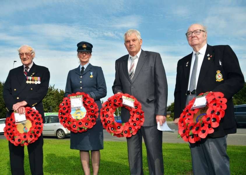 The wreath laying party (from left) Douglas Marsh, from RAFA, Squadron Leader Christa Lawrence, from RAF Holbeach, parish council chairman John Grimwood and veteran Thomas Edwards. SG240917-142TW