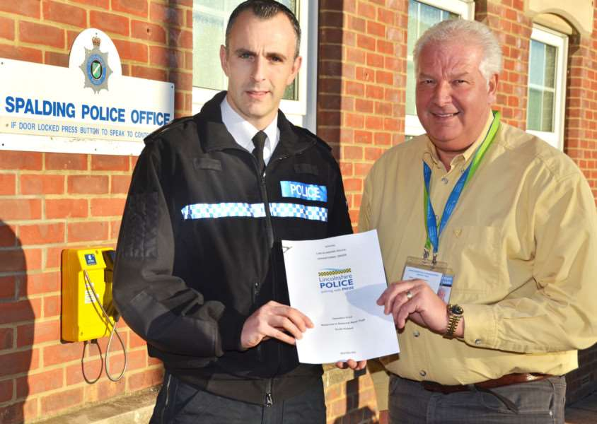 OPERATION VIVID: South Holland policing inspector Gareth Boxall with ShopWatch coordinator Stuart Brotherton. Photo by Tim Wilson. SG041217-105TW.