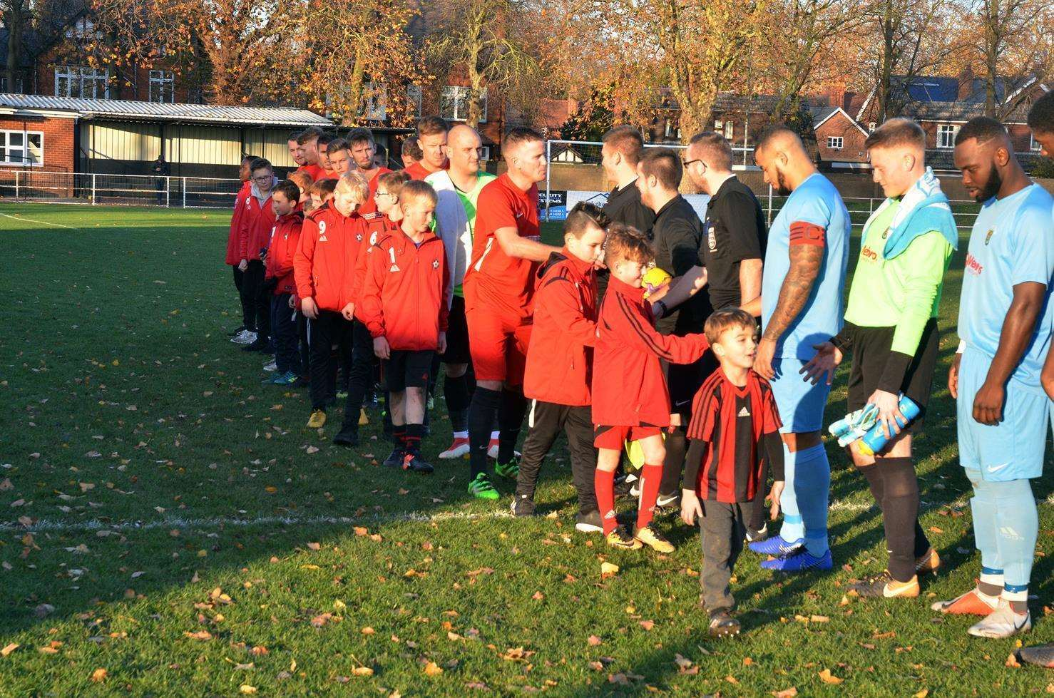 Pinchbeck United before their game against Rugby Town at Sir Halley Stewart Playing Field, Spalding, in November 2018. Photo by Tim Wilson.