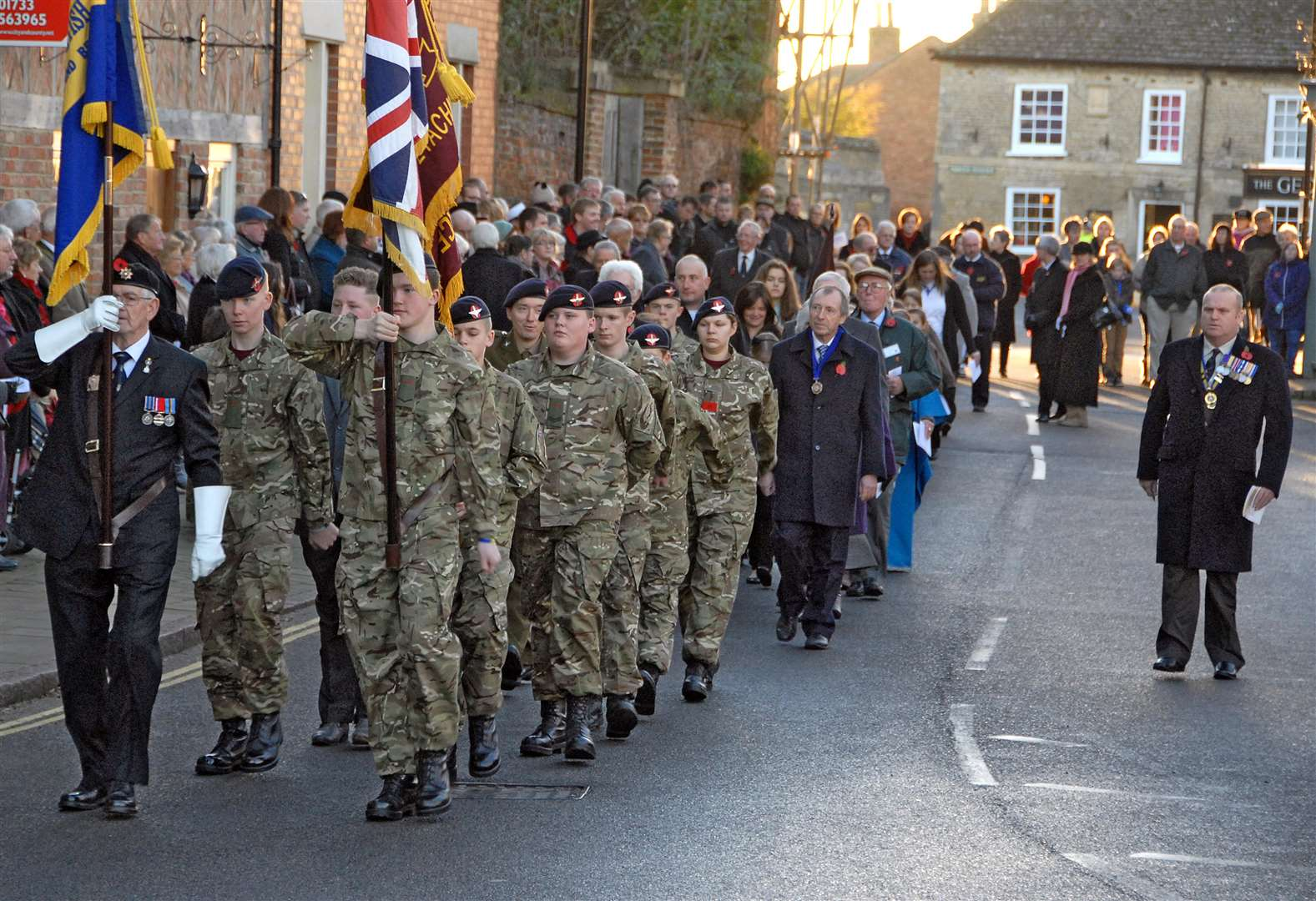 The annual Remembrance Sunday parade goes through Crowland in 2013. Photo by Tim Wilson. SG101113-048TW. (2080590)