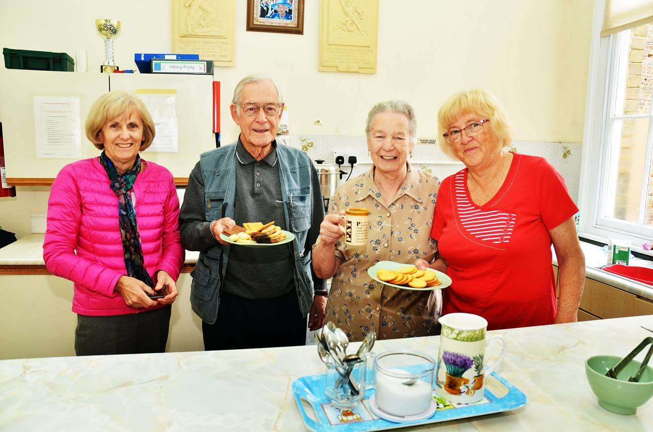 Sandra Hellig, Barry and Pat Harland and Lesley Dunham serve refreshments at the Holbeach Pop-In.