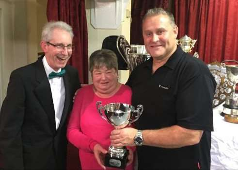 Singles & Mark Tansley Trophy winner: Ian Tilley (MC), Maureen Pell, Andy Bingham.