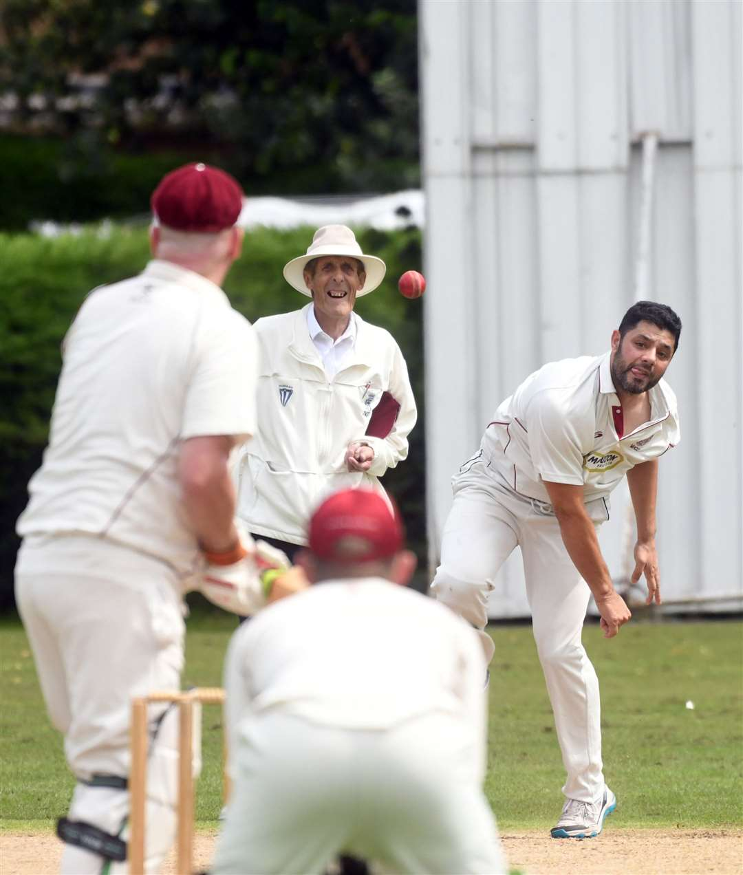 Nohman Jarral delivers a ball for Moulton Harrox 1sts.Photo by Adam Fairbrother.SG-030819-020AF