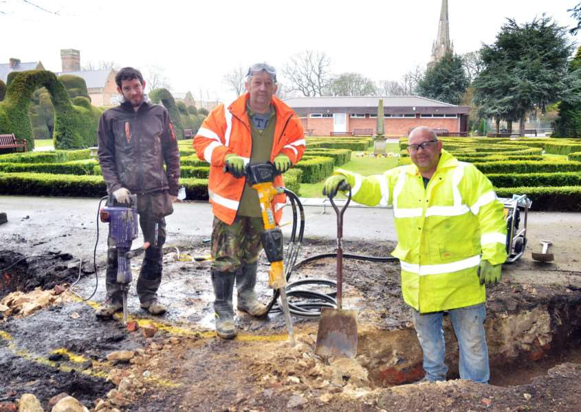 Simon Twelves, Karl Halgarth and Mark Wilson, of Dorset Homes Lincs, lay foundations for the WWII Memorial. Photo (TIM WILSON): SG150318-124TW