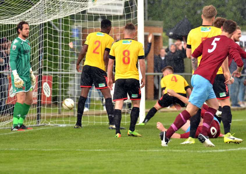 Deeping reply as a corner by Dan Schiavi bounces inside the far post