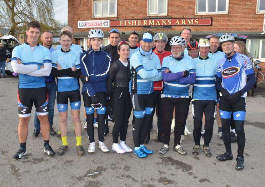 LINING UP: Before the start of Spalding's season-opening time trial outside The Fisherman's Arms last week. Photos (TIM WILSON): SG030418-105TW
