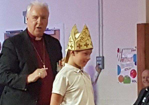 The Bishop of Lincoln during his visit to South View School, Crowland