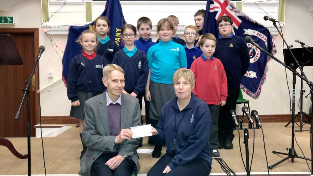 Boys' and Girls' Brigade cheque presentation to Peter Warren of the RNLI