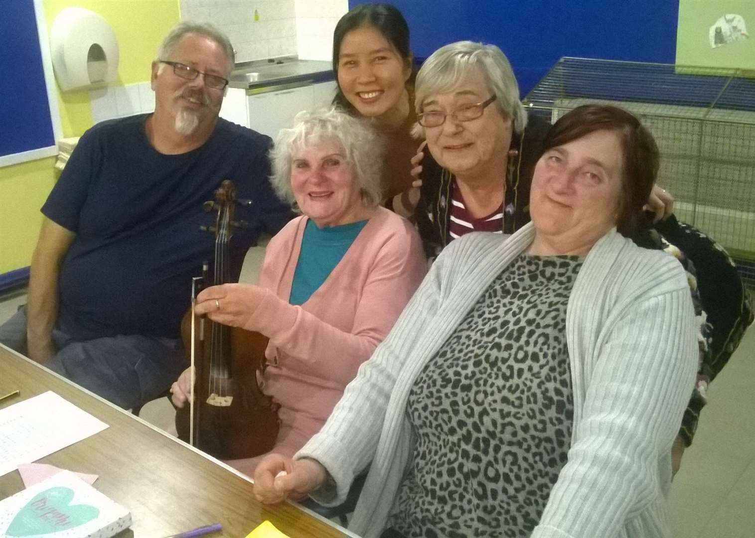 Tutor Martin Whitfield with learners and volunteers at Spalding Language Club which is looking for more people to join them.Photo supplied.