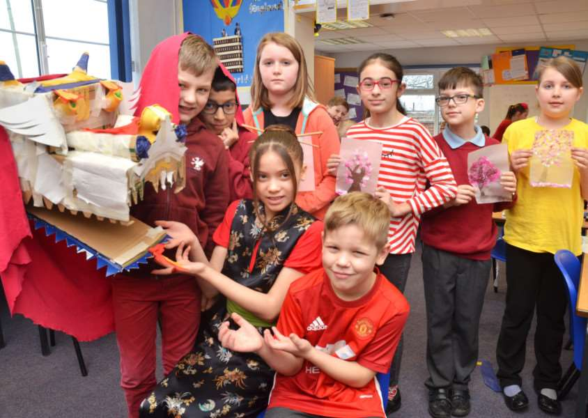 Class 3 pupils worked as a team to make a Chinese dragon. SG230218-101TW