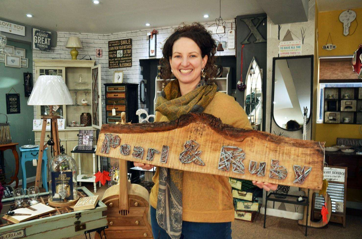 Pearl and Ruby shop Red Lion St Spalding Kayleigh Ayre with her handmade wood and string sign (4504042)
