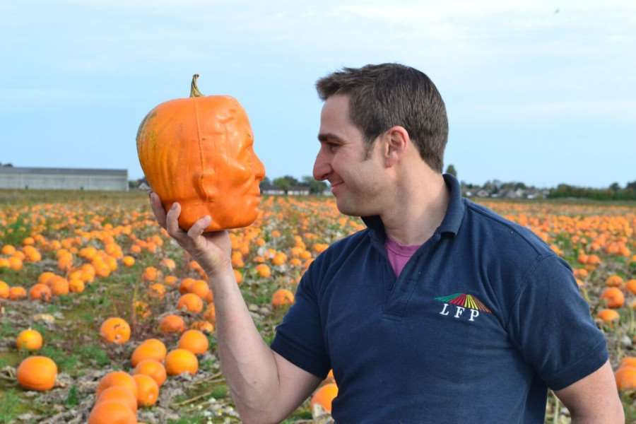 Ben Harris with the Frankenpumpkins