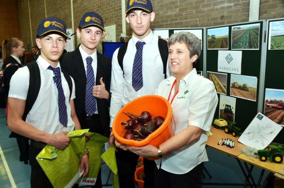 Lewis Clarke, Ryan Williams and Billy Barnes with Michelle Gallon of Farmcare