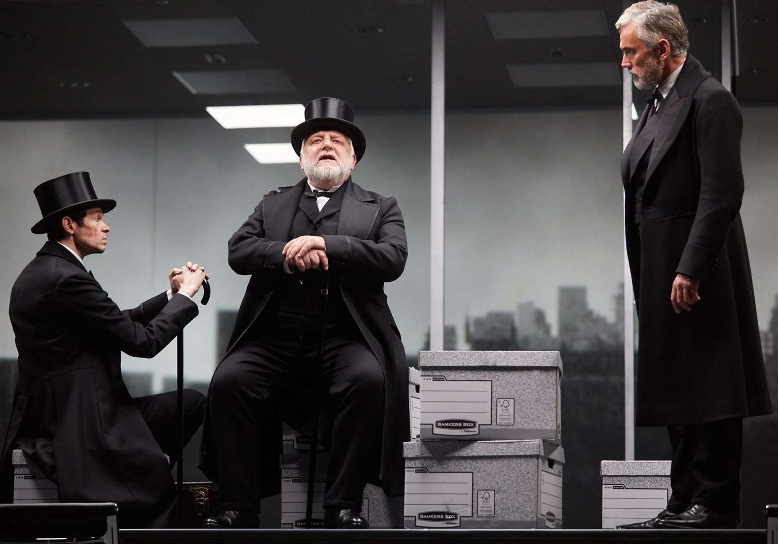Adam Godley, Simon Russell Beale and Ben Miles in The Lehman Trilogy, a co-production with Neal Street Productions by Stefano Massini and adapted by Ben Power. Photo by Mark Douet.