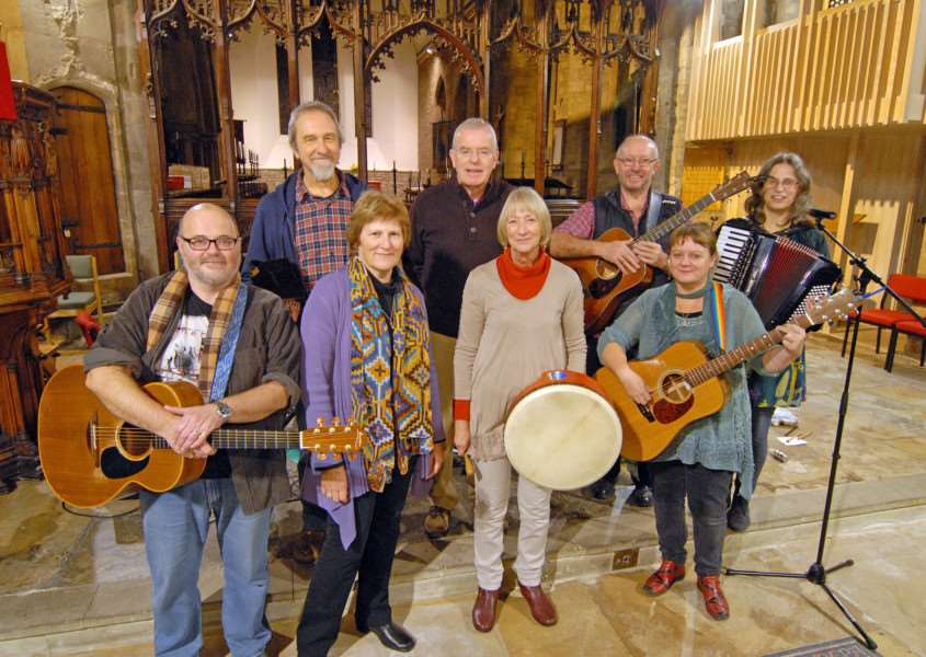 Kim Biggs (back row) and Penny Sykes, (second from left, front row), are finalists in the competition. Photo from a previous performance by Spalding Folk Club at St Mary and St Nicolas Church). SG251114-204TW