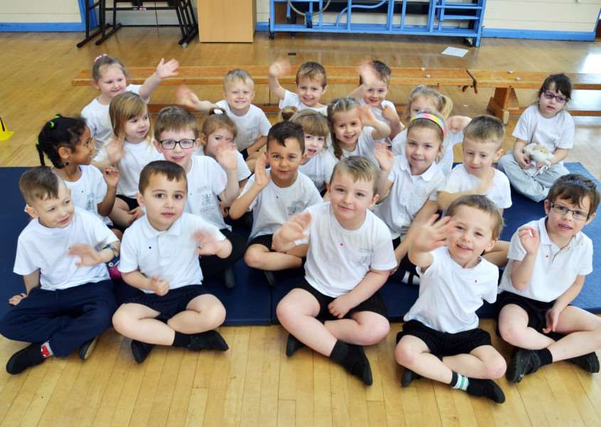 Early years pupils at Holbeach Primary Academy all set for their turn at circuit training. Photo (TIM WILSON): SG230318-101TW