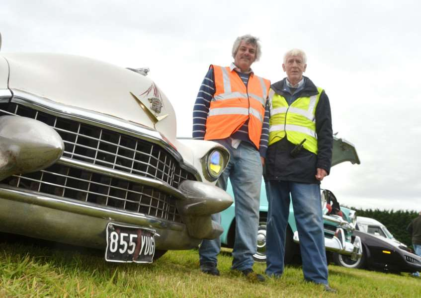 Classic car show and auto jumble organisers Paul West and Roy Brudenell at Long Sutton Barns. SG100917-115TW