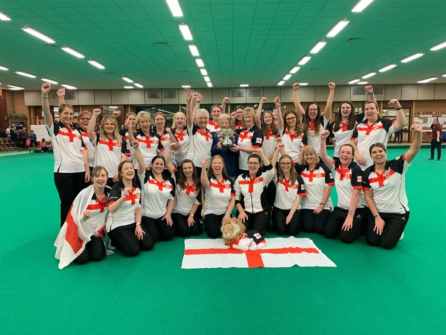 Chelsea Tomlin, Annie Dunham and Ruby Hill, of Spalding Indoor Bowls Club, were part of the England team who won their third successive British Isles International Series title at Llanelli Indoor Bowls Club in Wales.Photo supplied.