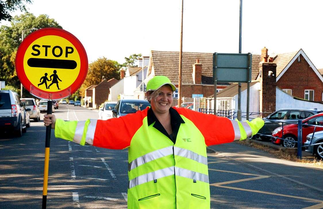 "Kirsty Perras is the new ""lollipop lady"" at Gosberton Academy."