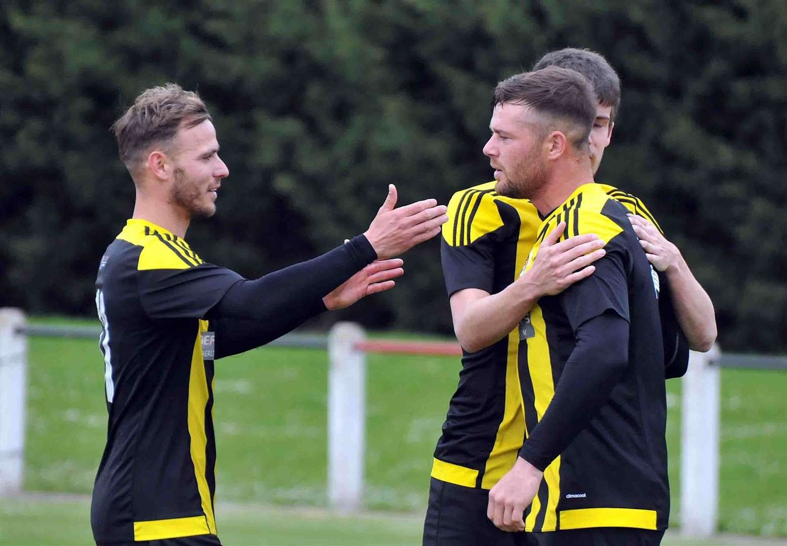 Holbeach celebrate their goal.