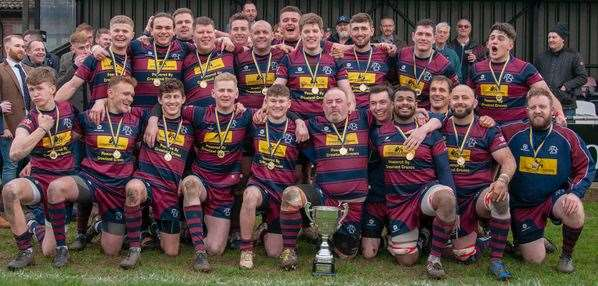 Spalding players pose for a photograph with the Midlands RFU Senior Vase.Photo by Adrian Smith.