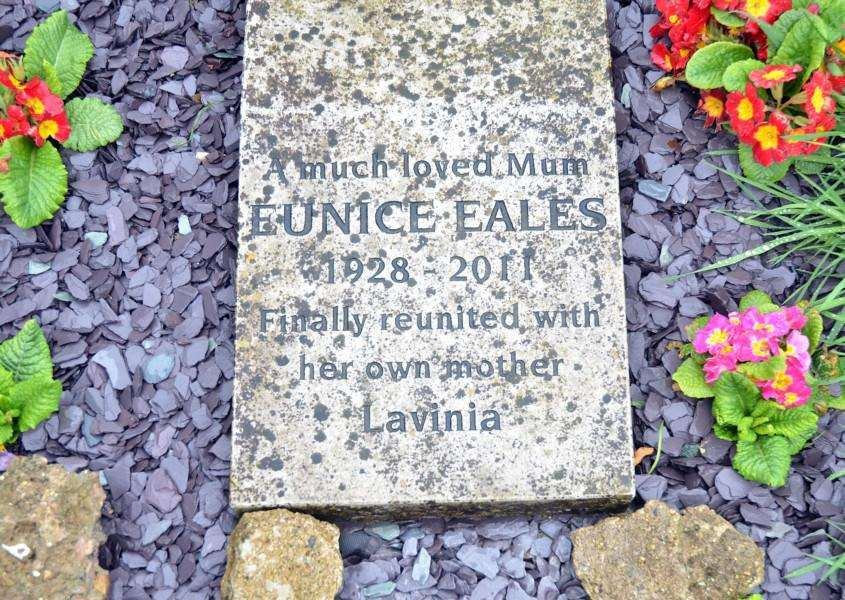 The memorial tablet for Eunice Eales. (SG270418-105TW)