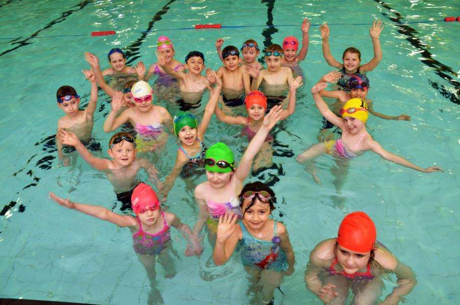 Spalding Amateur Swimming Club members outside Castle Sports 'Youngsters break for photo